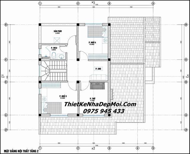Bản vẽ thiết kế nhà vuông 2 tầng 100m2