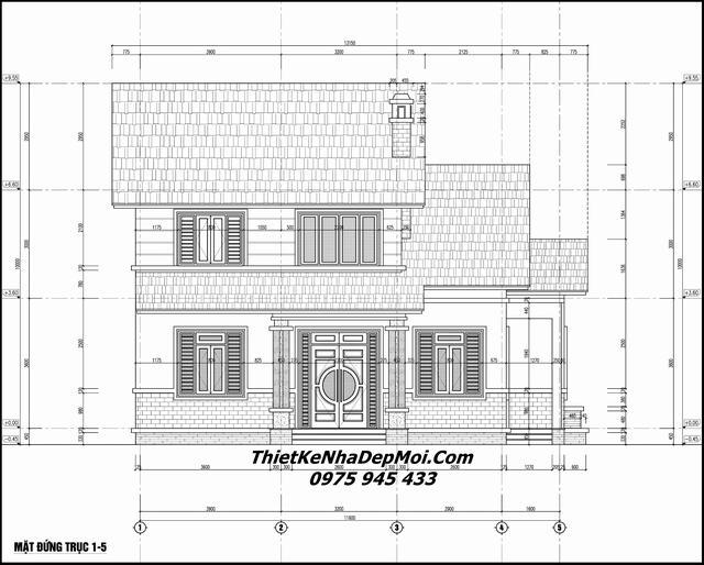 Bản vẽ xây nhà 2 tầng 10x10