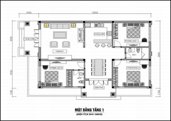 Cách bố trí nhà cấp 4 3 phòng ngủ