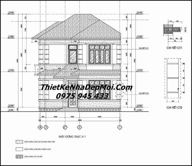 Bản vẽ chi tiết thi công xây nhà 2 tầng 100m2