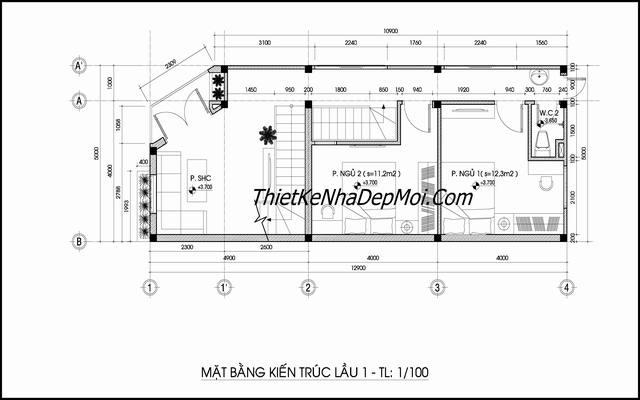 Bản vẽ xây nhà 3 tầng 50m2