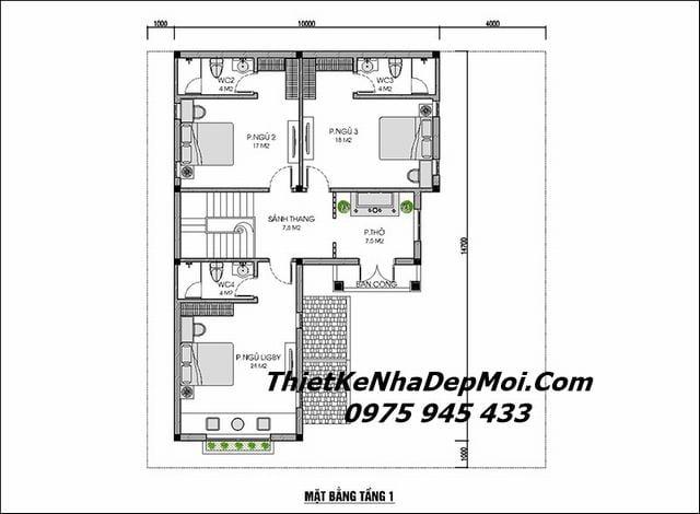 Bản vẽ xây nhà 2 tầng mái thái trên đất hình vuông