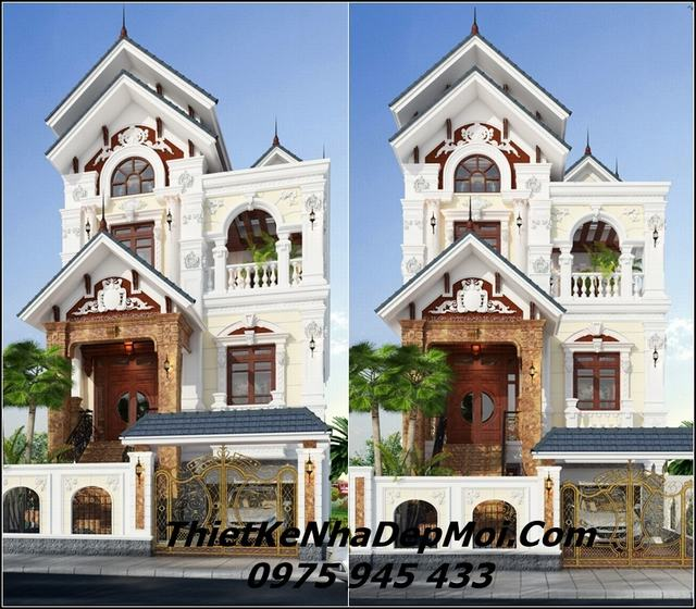 Biệt thự kiểu pháp cổ 4 tầng mặt tiền 8m