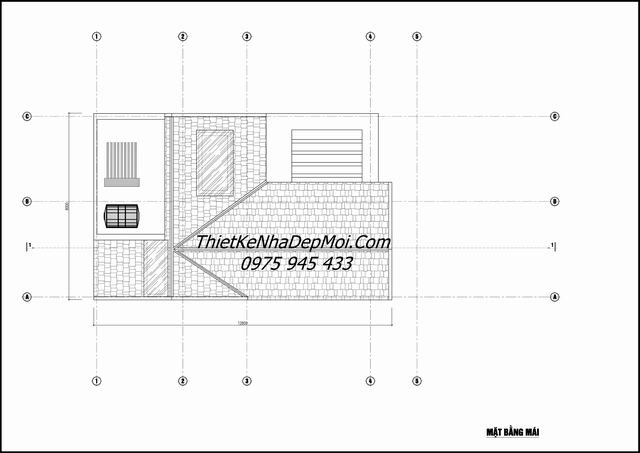 Bản vẽ mái nhà biệt thự 4 tầng mái thái