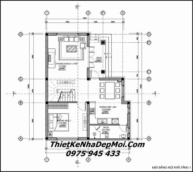 Bản vẽ xây biệt thự mini 2 tầng 100m2