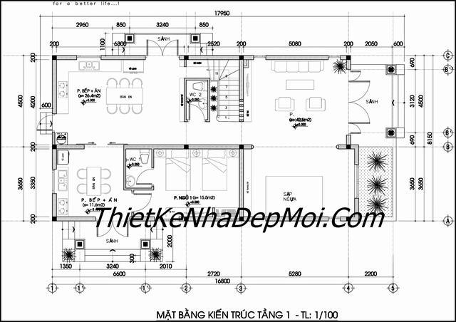 Mặt bằng biệt thự 2 tầng 8x18 mái thái