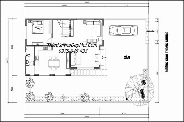 Mặt bằng nhà 3 tầng 12.5m dài 20m