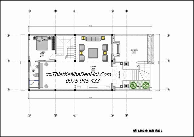 Mặt bằng biệt thự phố 4 tầng rộng 8m