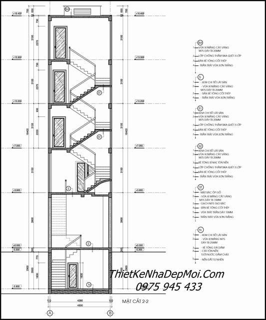 Mặt cắt nhà ống 5 tầng hiện đại