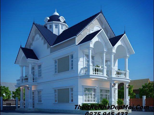 Thiết kế biệt thự 2 tầng mái thái 8x18