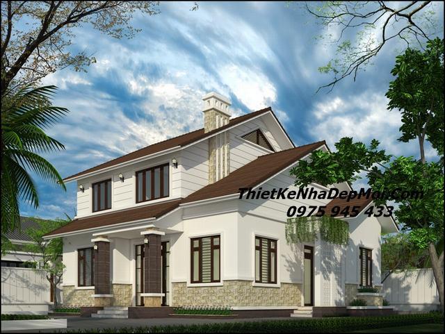 Mẫu nhà 2 tầng đơn giản ở nông thôn 2018