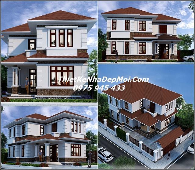 Mẫu thiết kế nhà biệt thự mini 2 tầng 100m2 mái ngói