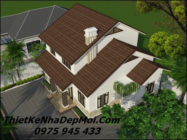 nhà mái thái 2 tầng 4 phòng ngủ 1 phòng thờ