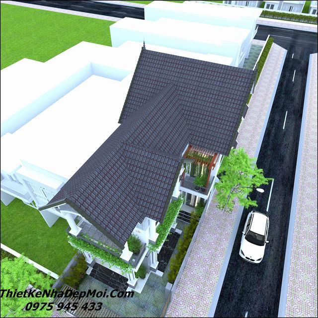 Nhà phố 2 mặt tiền mái thái