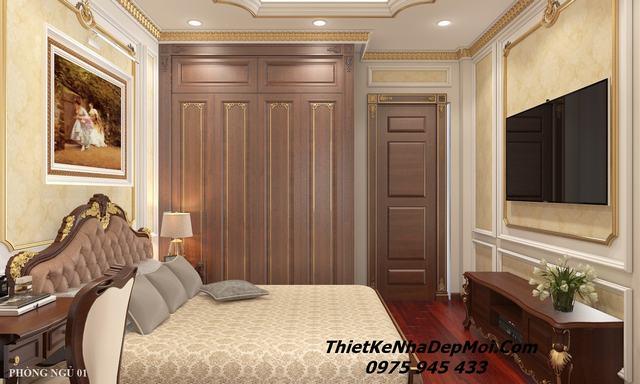 Nội thất phòng ngủ bằng gỗ tân cổ điển