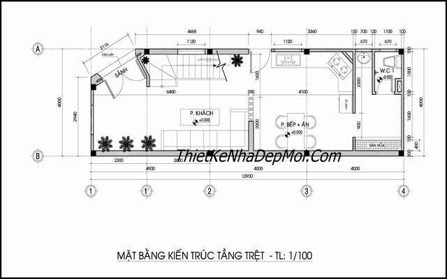 thiết kế nhà ống 50m2 3 tầng