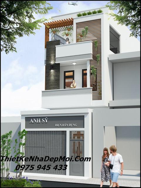 Thiết kế nhà phố mặt tiền 5m 3 tầng