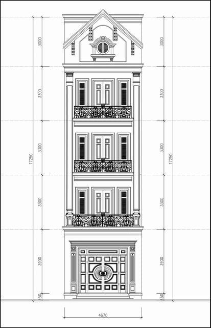 Bản vẽ thiết kế nhà ống tân cổ điển