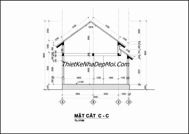 Bản vẽ cad nhà cấp 4 8x15
