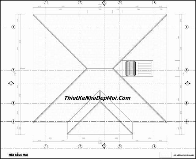 Bản vẽ nhà mái thái 1 tầng