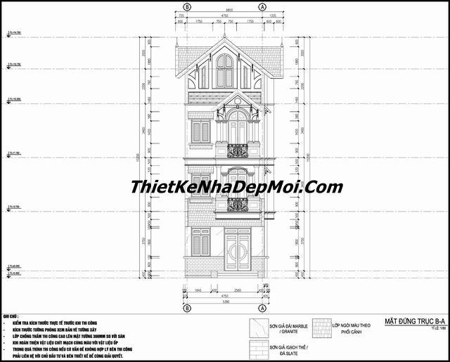 Bản vẽ nhà 3 tầng 1 tum 5x13