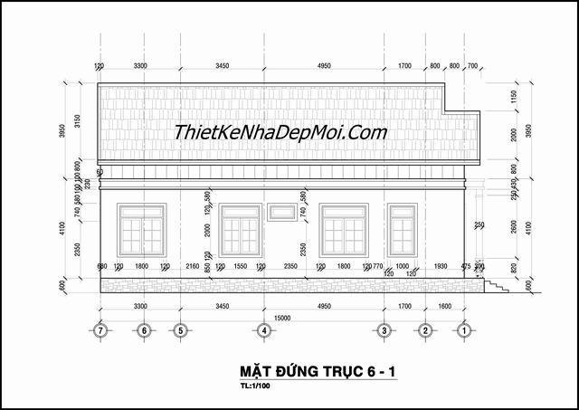 Bản vẽ nhà cấp 4 diện tích 8x15m