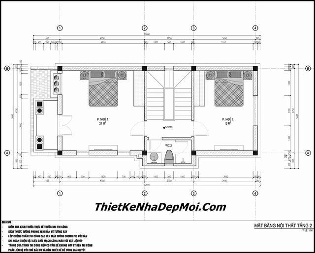 Bản vẽ thiết kế nhà 3 tầng 1 tum 5x15