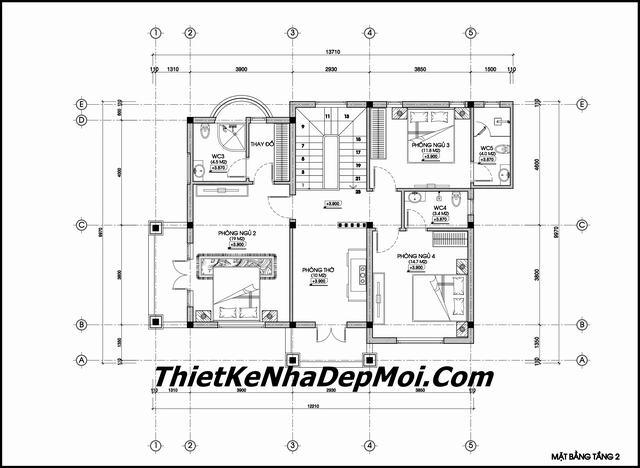 Bản vẽ biệt thự 2 tầng 9x14