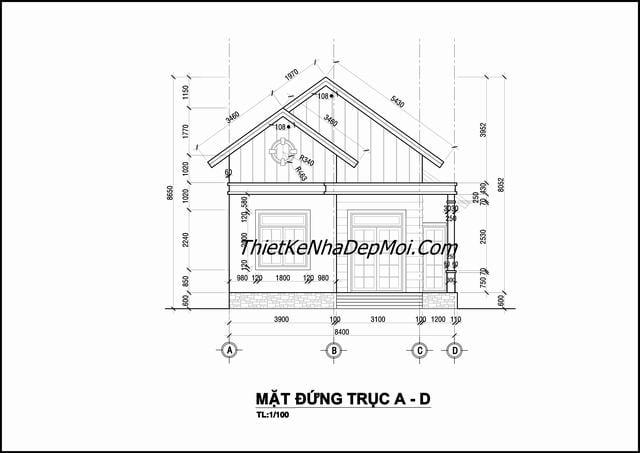 Bản vẽ thiết kế nhà cấp 4 ngang 8m