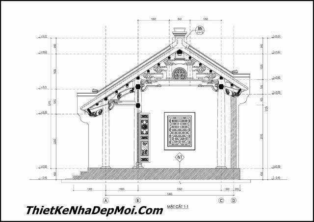 Kiến trúc nhà gỗ 5 gian đẹp