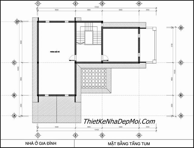 Bản vẽ biệt thự 2 tầng 5 phòng ngủ