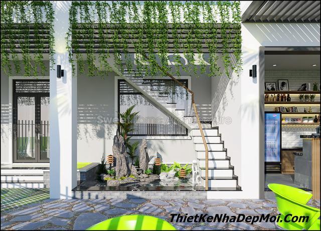 Không gian nhà đẹp 2 tầng 7x18