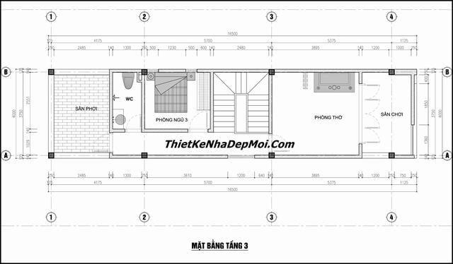Thiết kế nhà ống 3 tầng 5x16m
