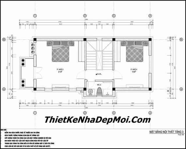 Thiết kế nhà 65m2 3.5 tầng