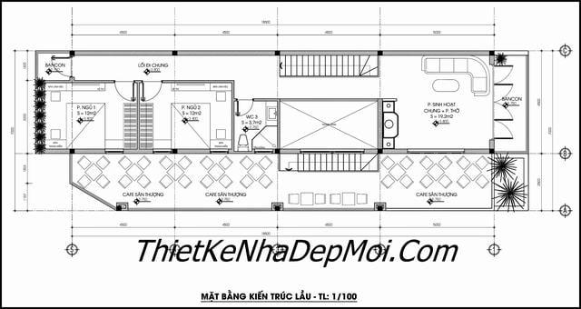 Bản vẽ nhà ống 2 tầng kinh doanh 7x18