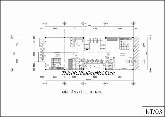 Mặt bằng nhà phố 3 tầng 6x16