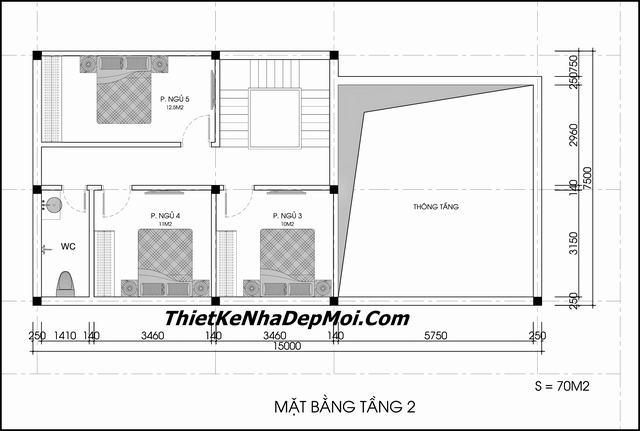 Bản vẽ gác lửng 3 phòng ngủ