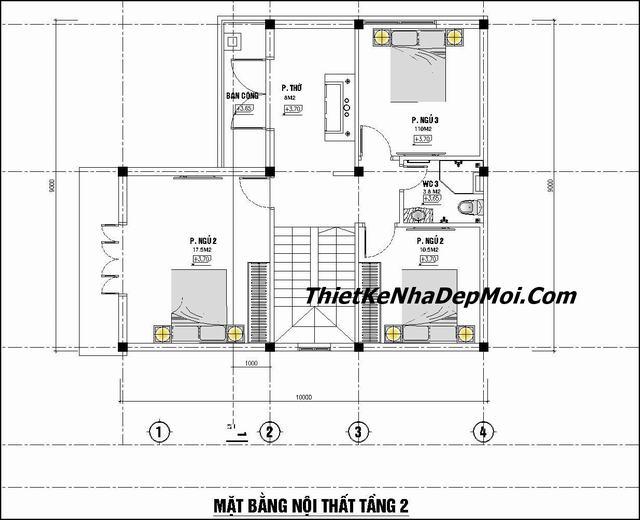Mặt bằng nhà 2 tầng 5 phòng ngủ 90m2