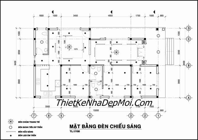 Thiết kế nhà 1 tầng 3 phòng ngủ