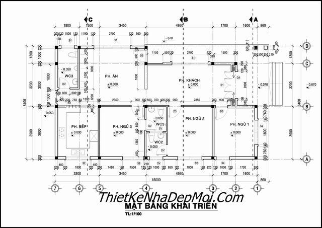 Thiết kế nhà 1 tầng 8x15