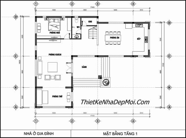 Thiết kế nhà 2 tầng 5 phòng ngủ