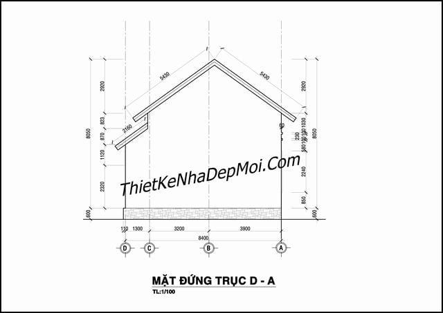 Thiết kế nhà cấp 4 mái thái 120m2