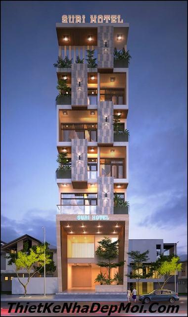 Thiết kế nhà nghỉ 6 tầng