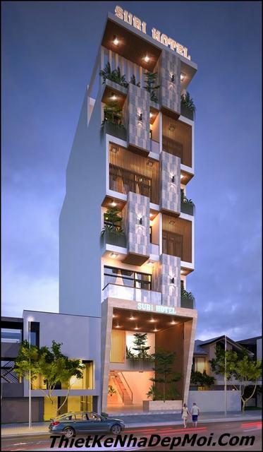 Thiết kế nhà nghỉ bình dân 6 tầng 7x20