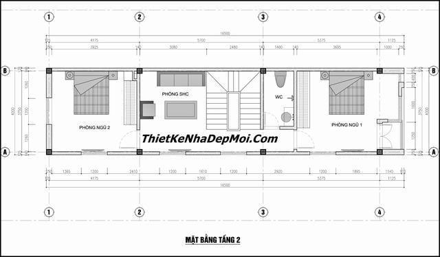 Thiết kế nhà phố 3 tầng 5x16m