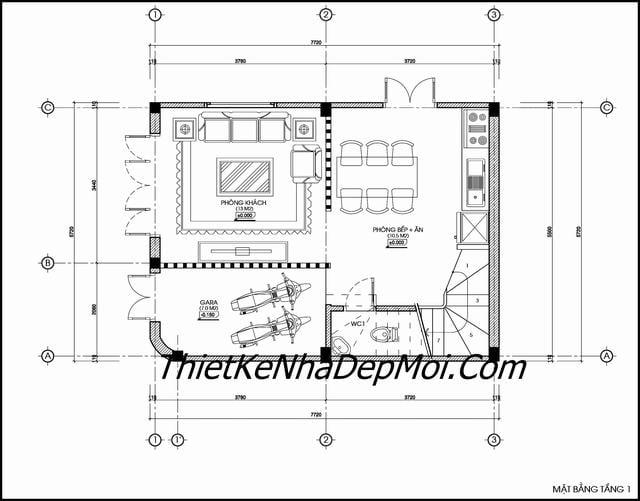 Thiết kế nhà trên đất 6x8m
