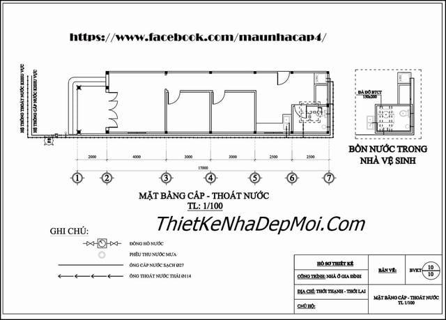 Bản vẽ mặt bằng cấp thoát nước nhà cấp 4