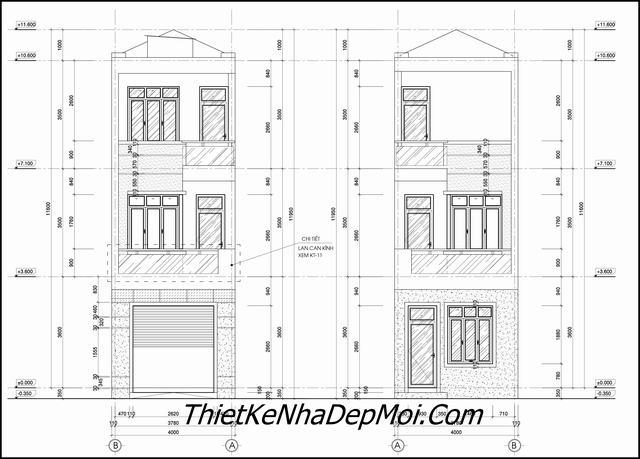 Bản vẽ thiết kế nhà 2 tầng 4x20m