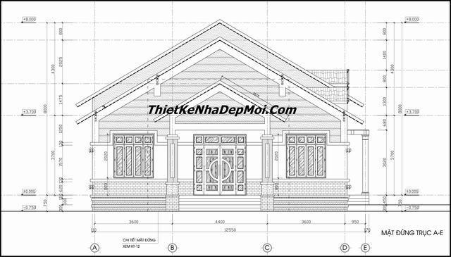 kien truc nha mat tien 12m - Xây nhà biệt thự cấp 4 đẹp kiến trúc hiện đại gồm 3 phòng ngủ 1 phòng thờ