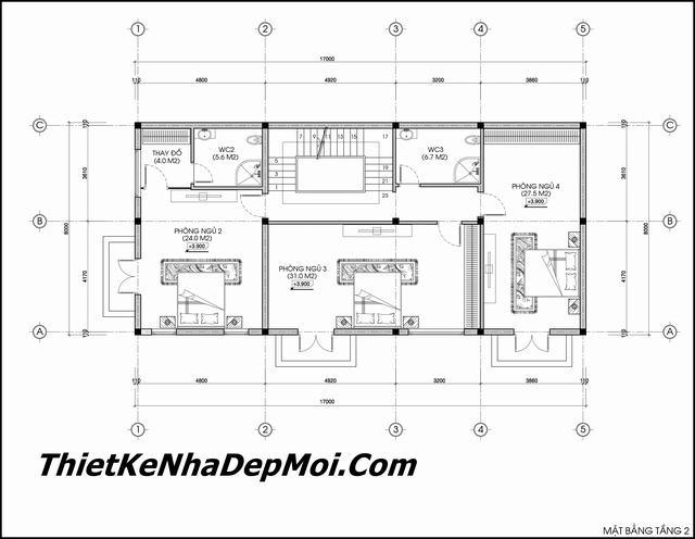 Bản vẽ biệt thự 3 tầng 8x20